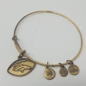 Alex and Ani goldtone Denver Bronco charm bracelet